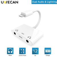 5X For Lightning to Dual 3.5 mm Headphone Audio Aux Jack+For Lightning Charging Connector Adapter For iPhone X 7 8Plus 8 7 iPad