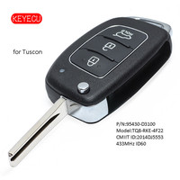 Keyecu Flip Remote Key Fob 3 Button 433MHz 4D60 Chip for Hyundai Tuscon 2015 2017 P/N: 95430 D3100