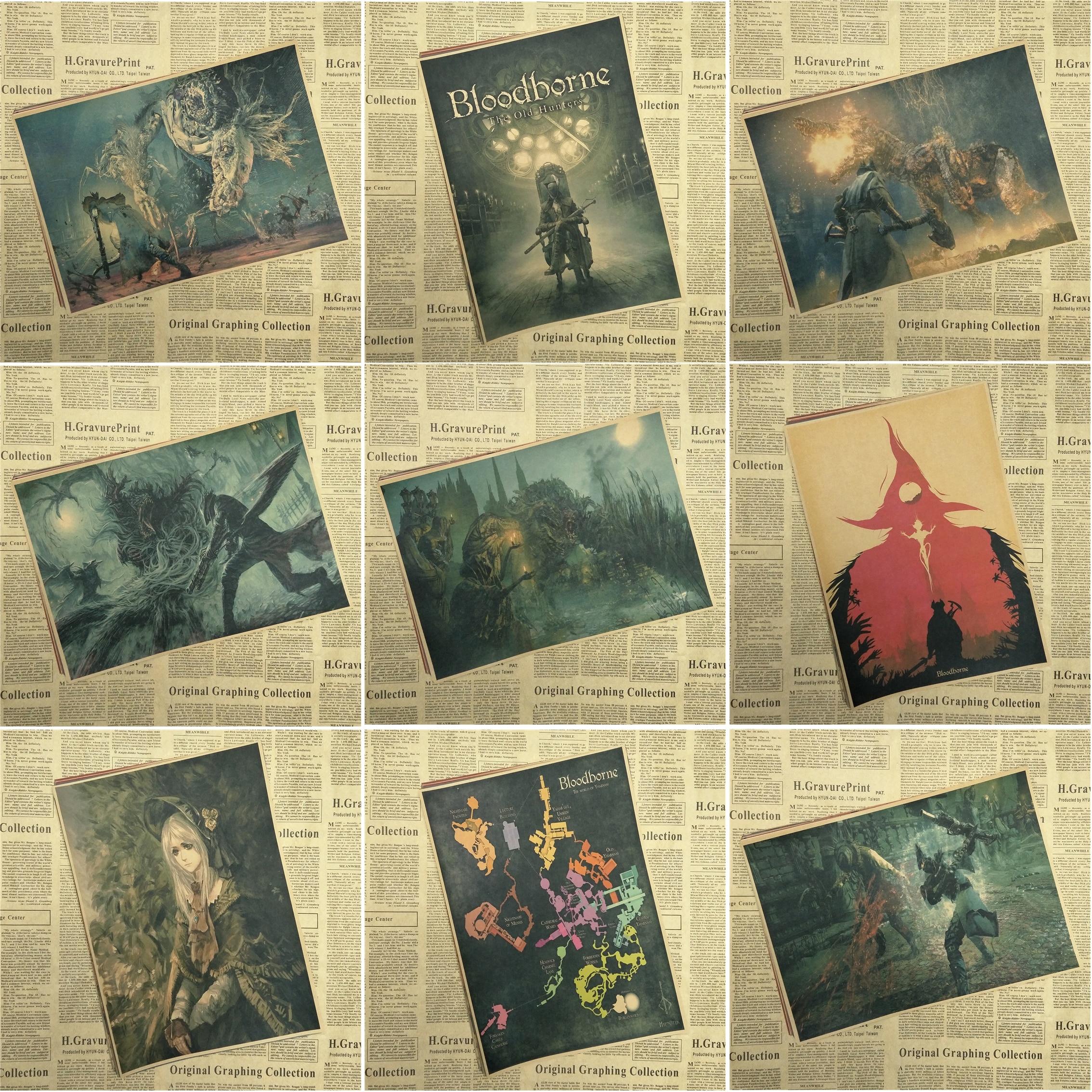 Bloodborne Kraft Poster Print Game Hunter Picture for Living Room Wall Decoration Bar Cafe