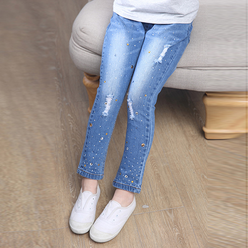 New Style Girls Hole Jeans Kids Jeans Girls Trousers Autumn Fashion - Children's Clothing - Photo 2