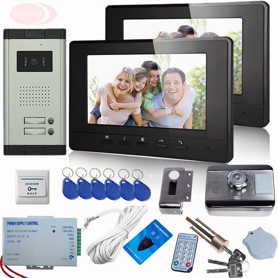 Video Cameras For Video Doorphone 7Inch Color Call For Home Doorbell With Rfid Unlock Electronic Lock Video Intercom 2 Monitors 4 3inch color tft lcd wired monitor video door telephone rfid unlock electronic lock video cameras for video doorphone 2 buttons