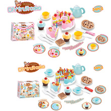 DIY Kid's Kitchen Toys Pretend Cutting Birthday Fruit Cake Plastic Play Food Set with Accessories Pretend Play Educational Toys