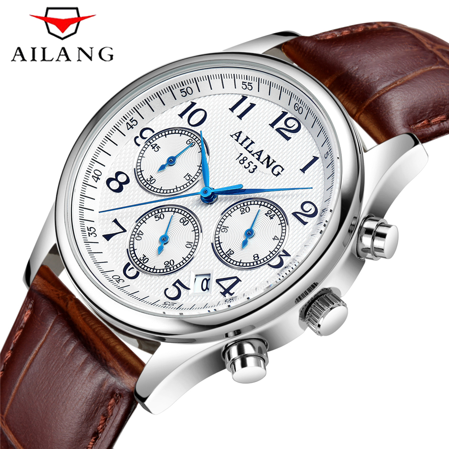 2017 New AILANG Luxury Brand Quartz Watches Men Analog Chronograph Clock Men Sports Military Leather Strap Fashion Wrist Watch  2016 new weide luxury brand quartz watches men dual time oversize clock men sports military leather strap fashion wrist watch