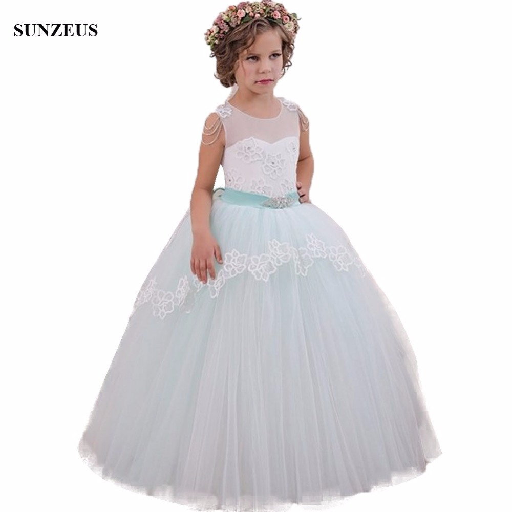 Ball Gown Illusion Tank Tulle   Flower     Girl     Dress   For Weddings Blue Ivory Colored Long Child Party Gowns With Appliques FLG074