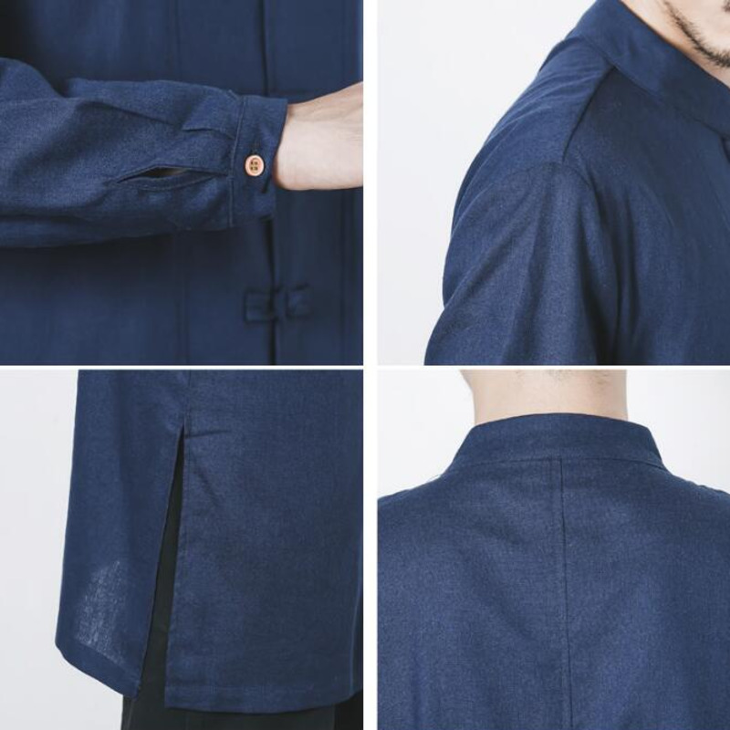 0555 Spring Autumn Long Sleeve Cotton Linen Trench Coat Men White Black Grey Blue Vintage Casual Windbreaker Mandarin Collar in Trench from Men 39 s Clothing