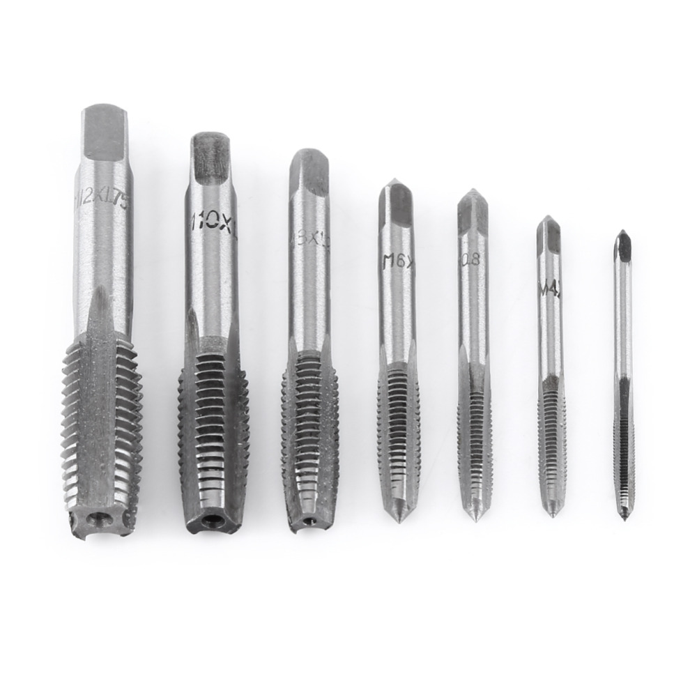 7Pcs/Lot Steel Metric Thread Tap Tapping Tool Spiral Point Straight Fluted Screw Taps Tool Hand Tap Drill Set M3-M12 Hot Sale