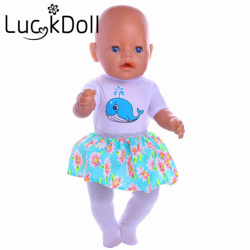 luck doll white skirt + white Leggings Clothes+Green skirt fit 43cm Baby Born Zapf Doll Clothes and 40-46CM Doll Accessories purple baby born doll dress clothes fit 43cm baby born zapf or 17inch doll accessories handmade fashion party skirt 015