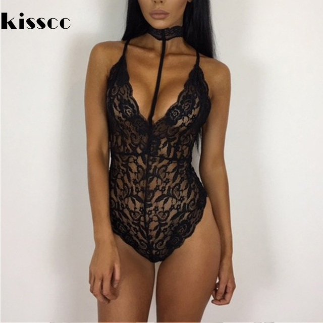 3f47f677488 Sexy Hollow Out Lace Halter Bodysuit Deep V Neck Halter Lace Women Rompers  Backless Off Shoulder