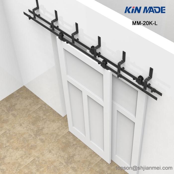 KIN MADE MM-20K-L 6/6.6ft Bypass Sliding Barn Wood Door Hardware Interior Top Mounted Rustic Black Sliding Barn Door Hardware