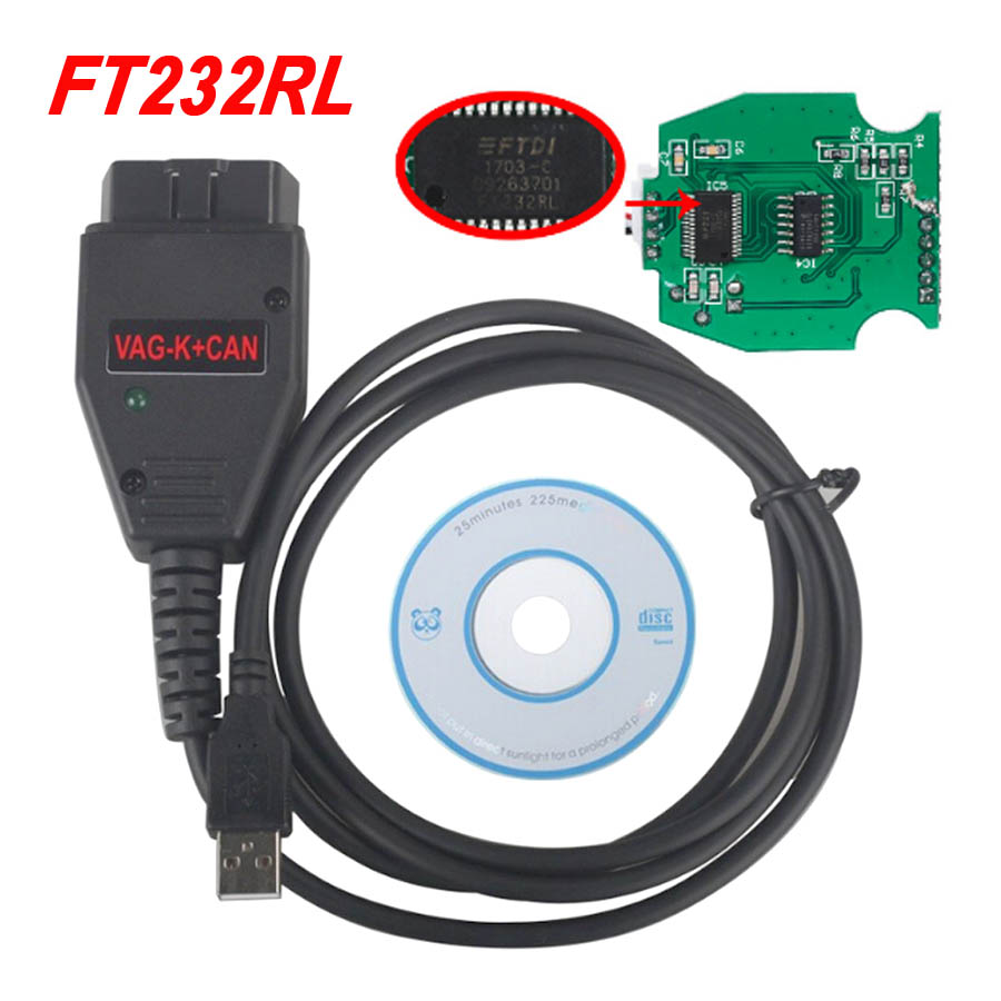 Best VAG K+CAN Commander 1.4 With FTDI FT232RL PIC18F258 Chip Auto OBD2 Diagnostic Interface Cable For AUDI / SKODA / SEAT