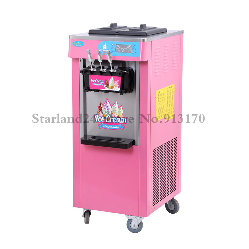 все цены на Ice Cream Making Machine Colorful Commercial Ice Cream Machine Pink and Blue Color 20L/H 220V LED display онлайн