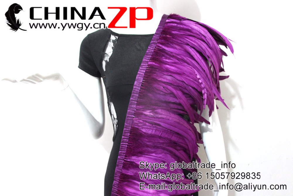 purple Rooster Tail Feather Fringe Trim (10)