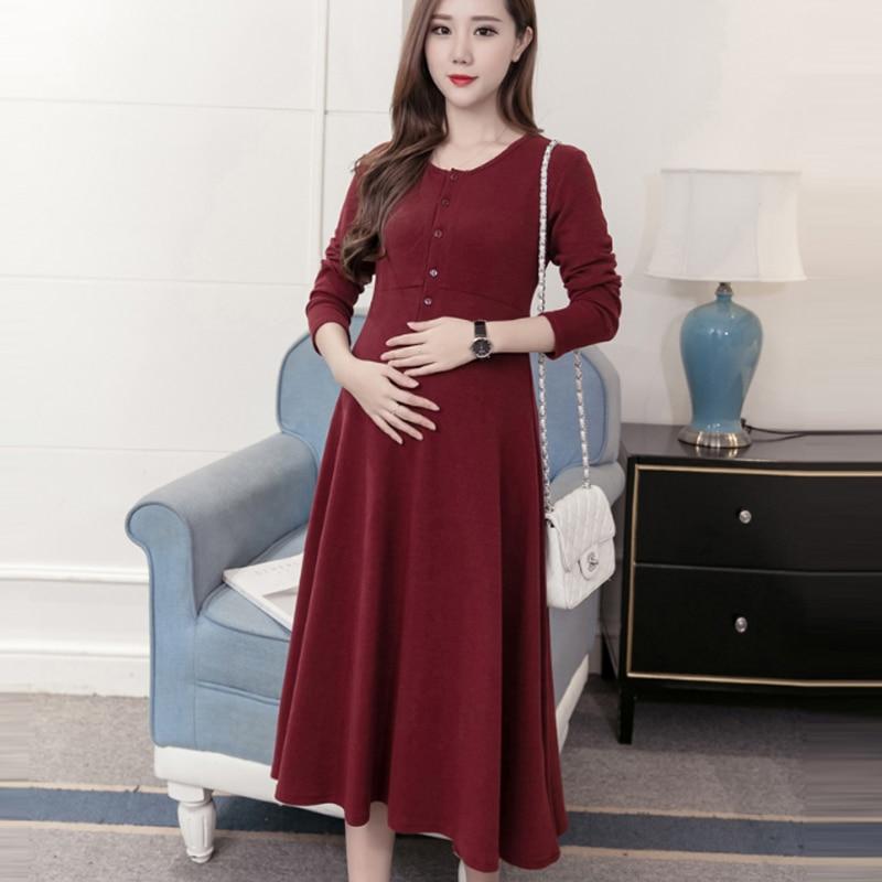 OkayMom Maternity Nursing Dress Clothing Pregnant Women Breast Feeding Dress Clothes Pregnancy Nurse Wear Black Vestidos Spring