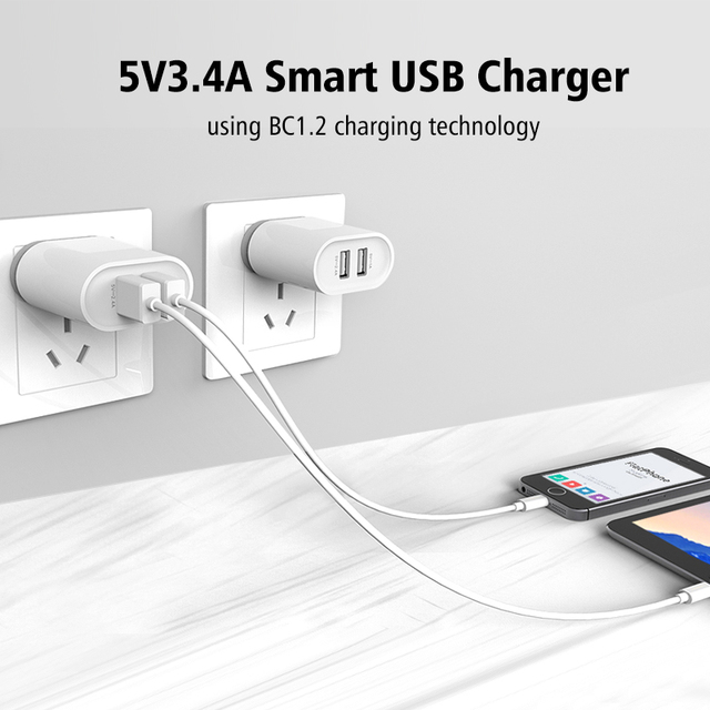 5V3.4A Universal USB Charger,Ugreen Travel Wall Charger Adapter Portable EU UK Plug Smart Mobile Phone Charger for iPhone Tablet