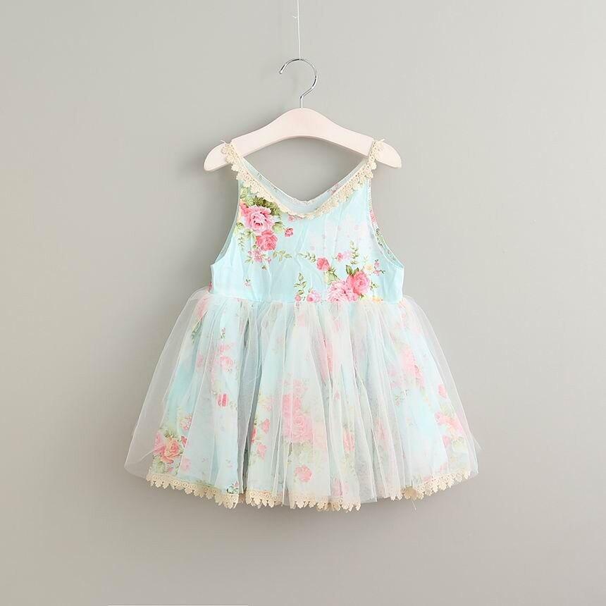 Лето 2017 г. девушка хлопок Кружево голубое платье для маленьких девочек с цветочным рисунком платье для девочек на день рождения элегантное ...