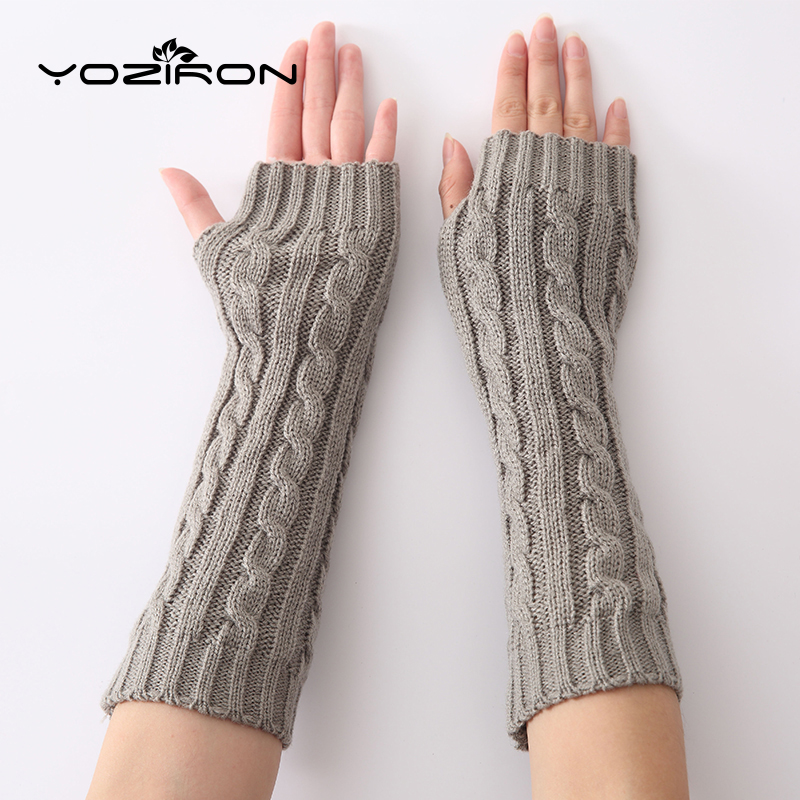 YOZIRON Fashion Snake Shape Women Arm Warmers Winter Knit Long Sleeves Gloves For Woman Girls Fingerless Gloves