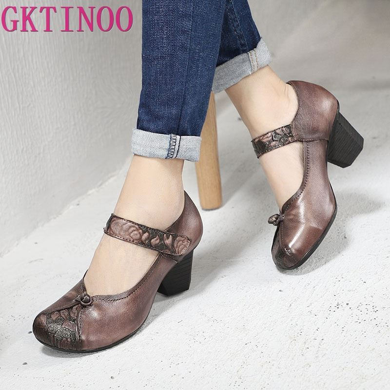GKTINOO 2019 Spring Summer New Folk Style Buckle Thick Heels Women Shoes Genuine Leather Round Toe