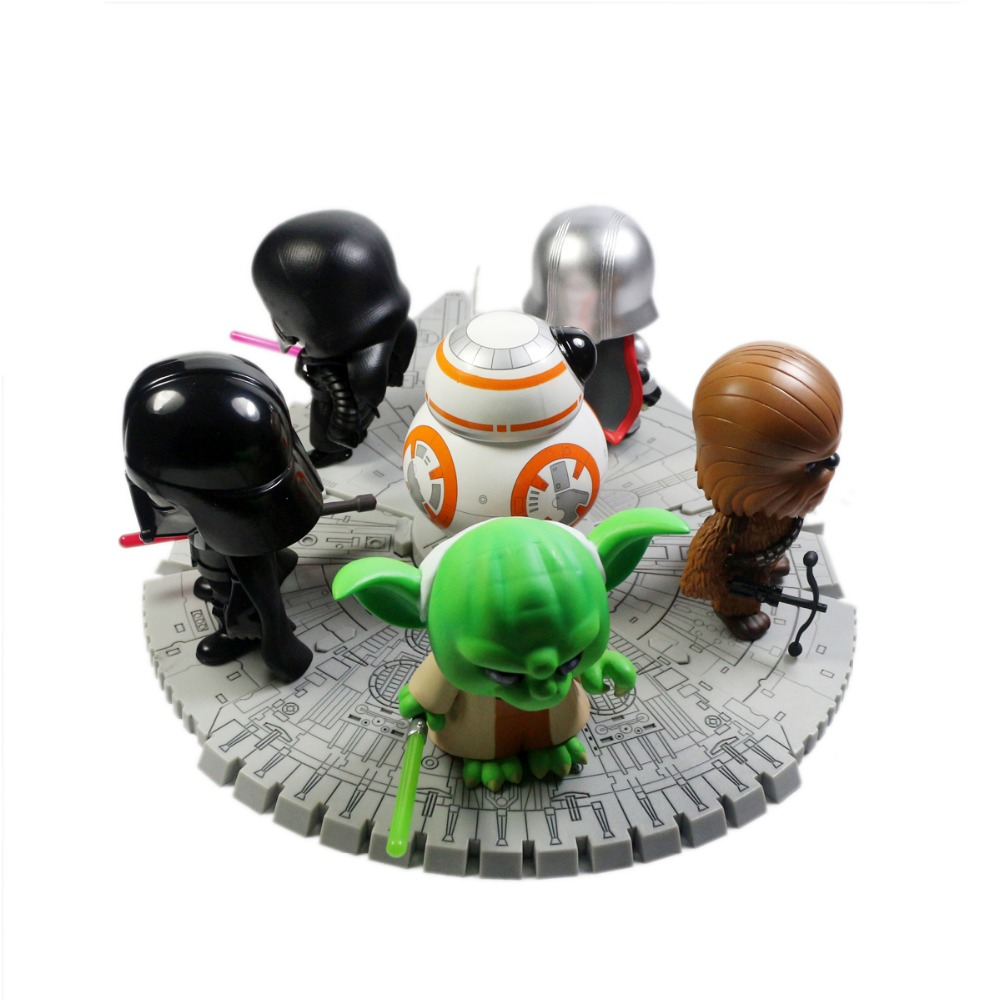 6pcs MOVIE BB-8/Darth Vader/Kylo Ren/Phasma on The Millennium Falcon Figure Toy Free Shipping color metal 3d puzzle star wars millennium falcon for adult 2016 new batman flying wing kylo ren shuttle 3d nano jigsaw puzzles