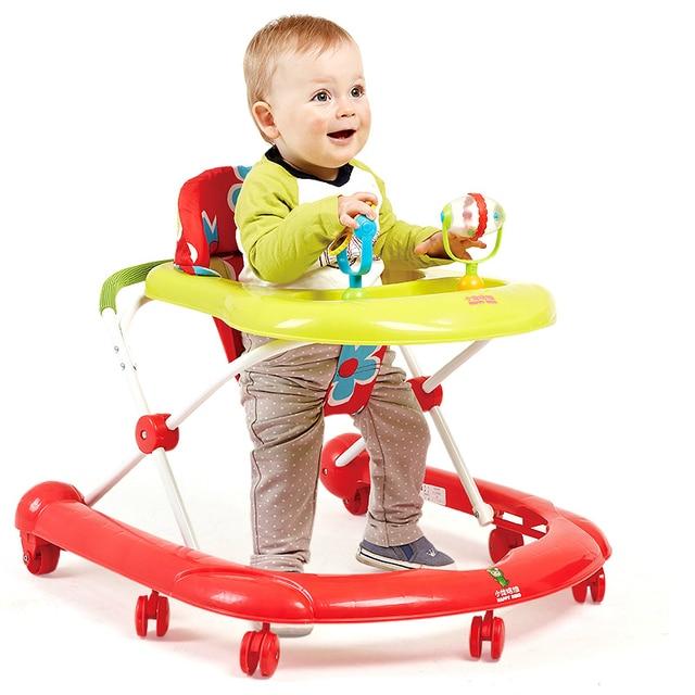 New Arrival Light Baby Children Walker Rollover Prevention Infant Walkers Step Car Multifunctional Toys Plate Foldable Walker