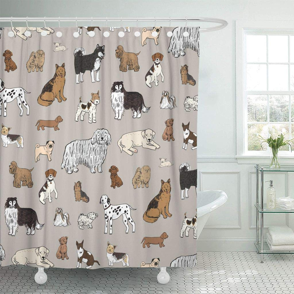 Shower Curtain Hooks Bull Dog Animal Pattern Fun Badger Beagle Bolognese Canine Cartoon Chihuahua Decorative Bathroom
