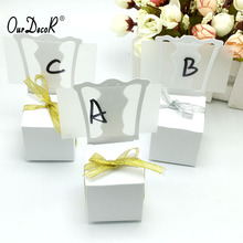 OurDecor 100pcs/lots Chair Shape Place Card Holder Wedding Candy Box Gift Favour Boxes Wedding Bonbonniere Event Party Supplies