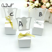 100pcs Lots Chair Shape Place Card Holder Wedding Candy Box Gift Favour Boxes Wedding Bonbonniere Event
