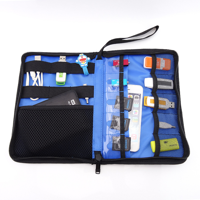 60cf511849 Roll UP Hard Drive Earphone Cables Usb Flash Drives Storage Travel Case  Digital Cable Organizer Bag external hard drive case