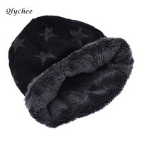 Qlychee Winter Autumn Star Print Warm Knitted Women Hat Unisex Skullies Beanies Hat Casual Caps