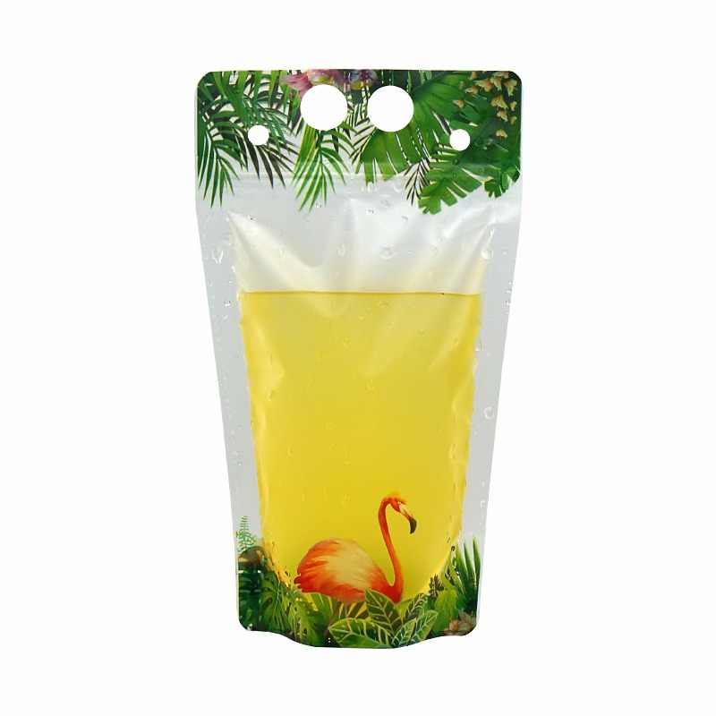 HARDIRON 100PCS New Flamingo Pattern Drink Bags Various Fruit Juice Coffee Liquid Disposable Portable Packing Ziplock Pouch