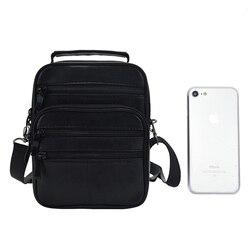 Genuine Leather Solid Crossbody Bags Men Zipper Phone Purse Travel Bags Messenger Portfolio Flap Sac Male Shoulder Bags Bolsa