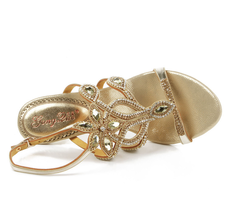 19e60cff46a7b 2017 Bohemian National Gold Casual Rhinestone Wedding Sandals Size 11  Elegant High Heels Women Shoes For Sale High Quality 8cm-in Women s Sandals  from Shoes ...