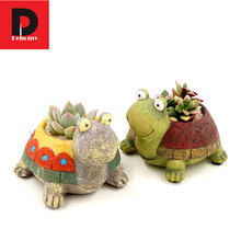 Dehomy 10*9CM Resin Succulent Flower Pot Pastoral Dull Turtle Planter Micro Landscape Garden Office Home Decoration Flowerpot