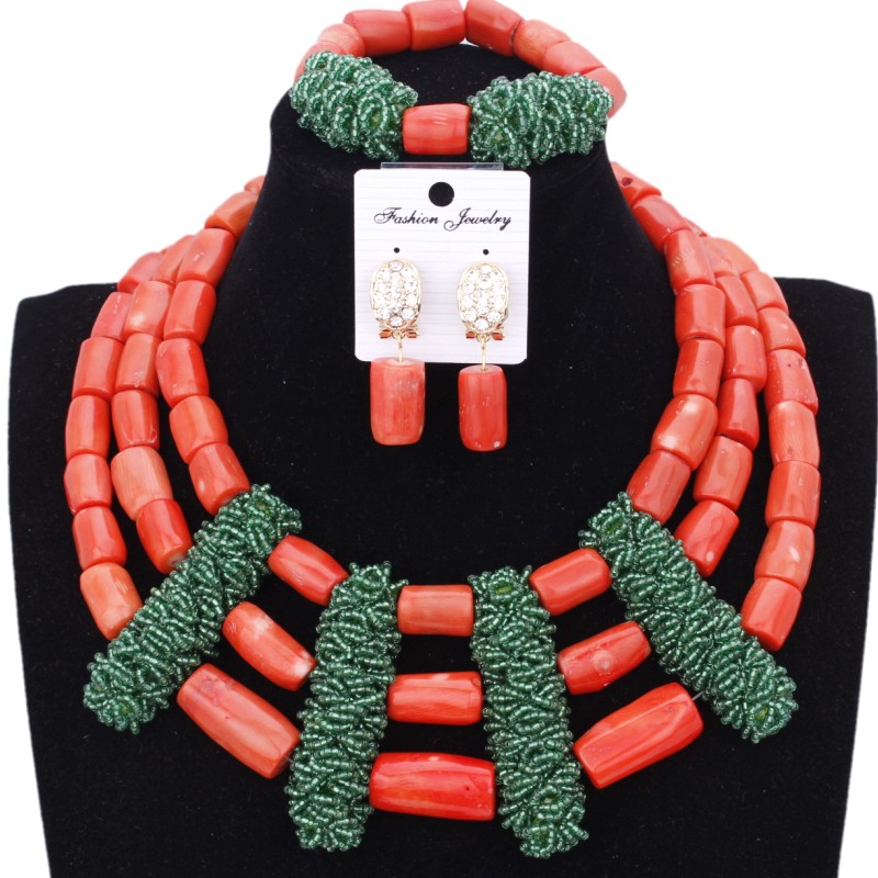 Fashion Fine Bridal Jewelry Set 100% Original Nature Coral Beads Jewelry Set Green Bold Jewellery Set For Women Free Ship 2018