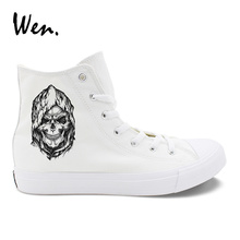 купить Wen Design Grim Reaper Death Skull High Top Male Canvas Casual Shoes White Black Unisex Vulcanized Sneakers Flat Outdoor Shoes по цене 1649.29 рублей