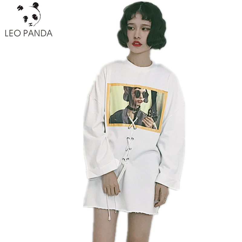 Spring Summer Fashion Europe America Street Corner Style Personality Lace-Up Open Fork Printing Figure Long Sleeve Dress LJX123