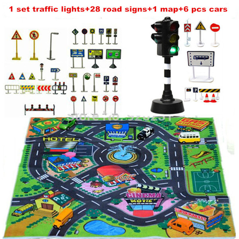 2018 Rushed Promotion Carro Børnelegetøj Scene Bil Parkering Lights Sæt af Trafikskilte Signpost For Kids Gave Educational Toy