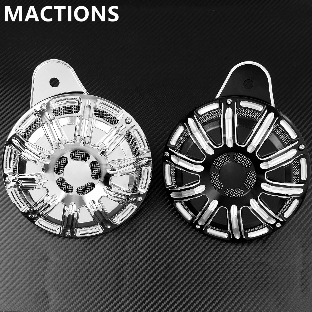 Motorcycle CNC Horn Cover Kit Black Chrome For Harley Touring Street Glide FLHX Big Twin Cam