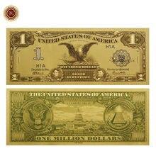 Billetes chapados en oro estadounidense, 1 dólar americano, decoración del hogar, papel coleccionable para colección, 1899