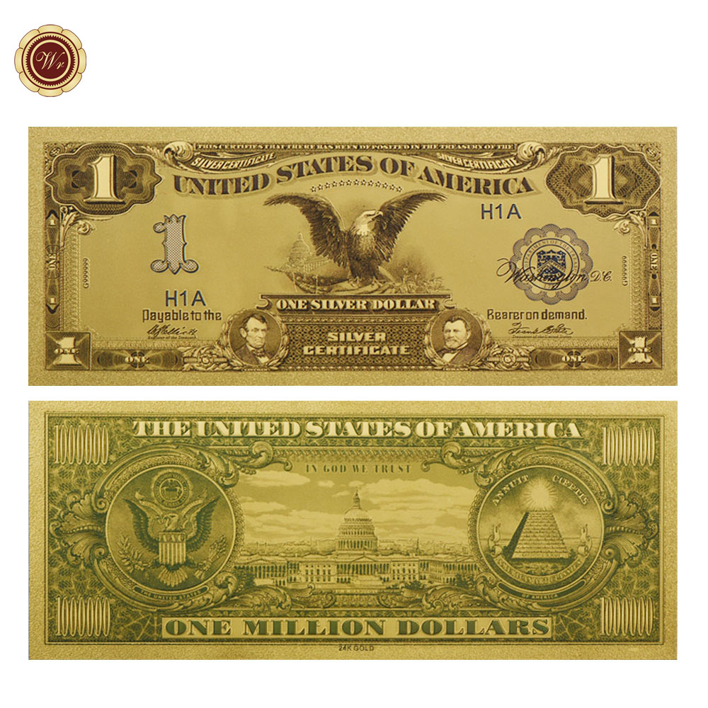 WR US Gold Plated Banknote Year 1899 American 1Dollar US Gold Bills Home Decor Collectible Paper Money for Collection