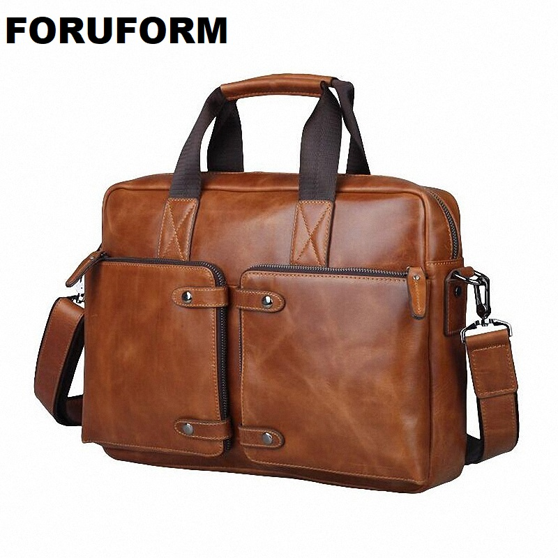 100% Cowhide men's Business Briefcase Genuine Leather Man Vintage 14inch Laptop Computer Shoulder Bag Luxury Leather Bag LI 830