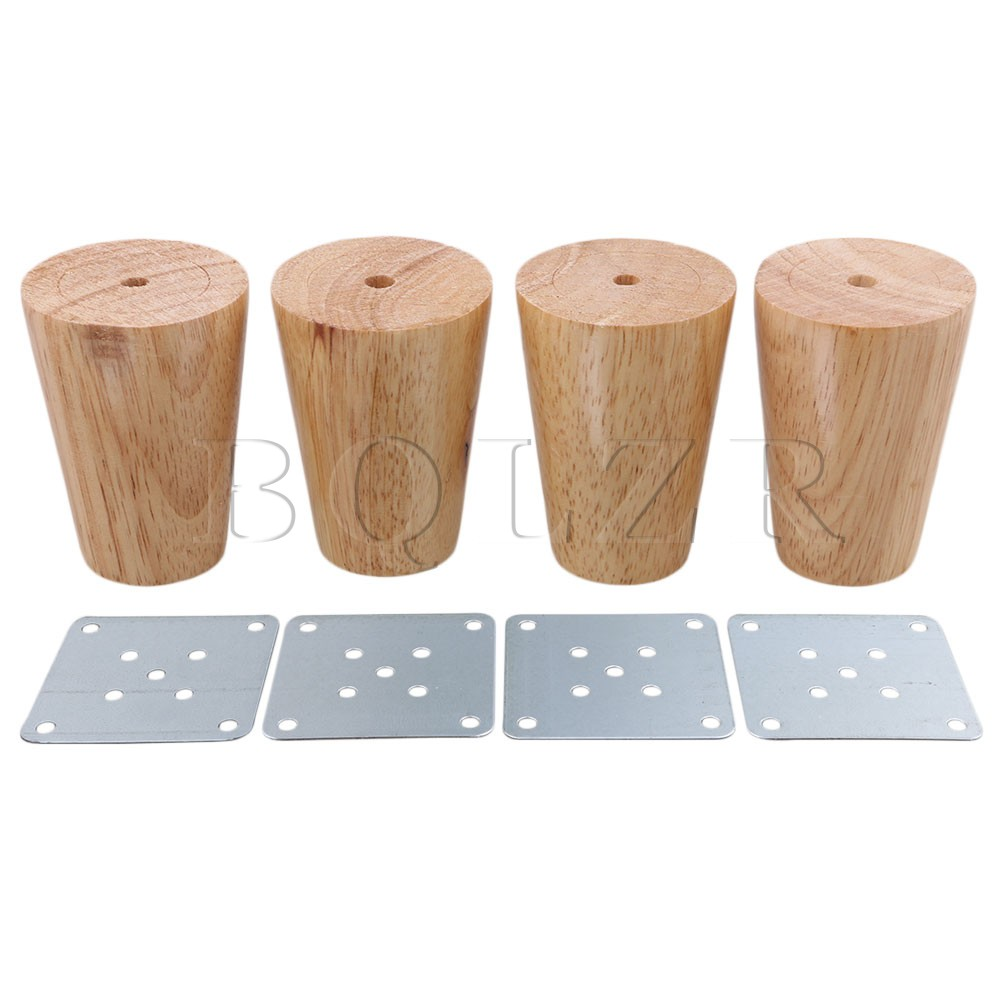 BQLZR 80x58x38mm Cone Wooden Material Sofa Chair Bed Cupboard Tea Table TV Cabinet Wooden Furniture Replacement Legs Pack of 4 bqlzr 4pcs 120x85mm round silver black adjustable stainless steel plastic furniture legs sofa bed cupboard cabinet table feet