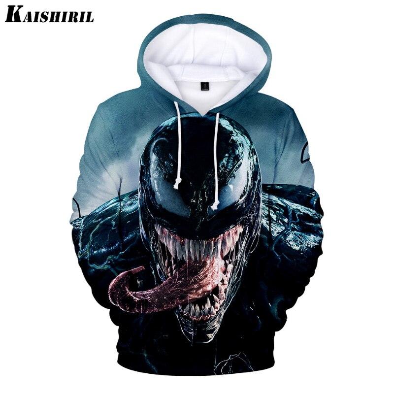 Comic Venom Hoodie Sweatshirts Men Superhero Anime Cool Black Autumn Winter Tops Plus Velvet Warm Hoody Couple Hip Hop Pullovers