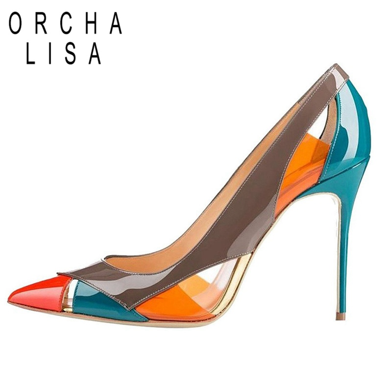 ORCHA LISA New Stiletto Heel Shoes Woman Pumps Ladies Ultra High Heels Shoes Patent Leather Pointed Toe Office Big Size 46