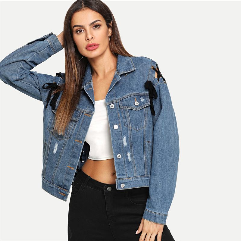 Lace Up Ripped Denim Jean Jacket Single Breasted For Women