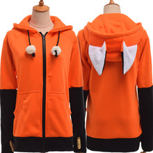 Animal renard oreille Cosplay Costumes manteau à capuche chaud Orange sweat sweats à capuche unisexe(China)