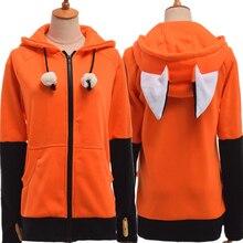 Animal Fox Ear Cosplay Costumes Hoodie Coat Warm Orange Sweatshirt Unisex Hoodies