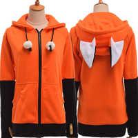 Animal Fox Ear Cosplay kostiumy płaszcz z kapturem ciepły pomarańczowy bluza bluzy z kapturem unisex