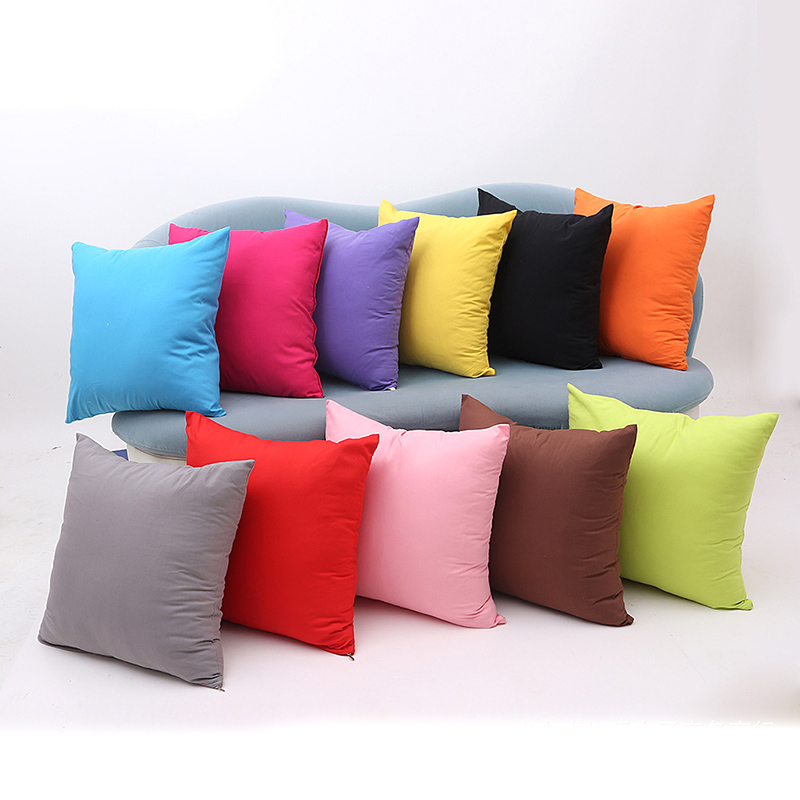 Colorful Pillows For Sofa: 45x45cm Solid Color Cushion Cover Square Pillow Cover