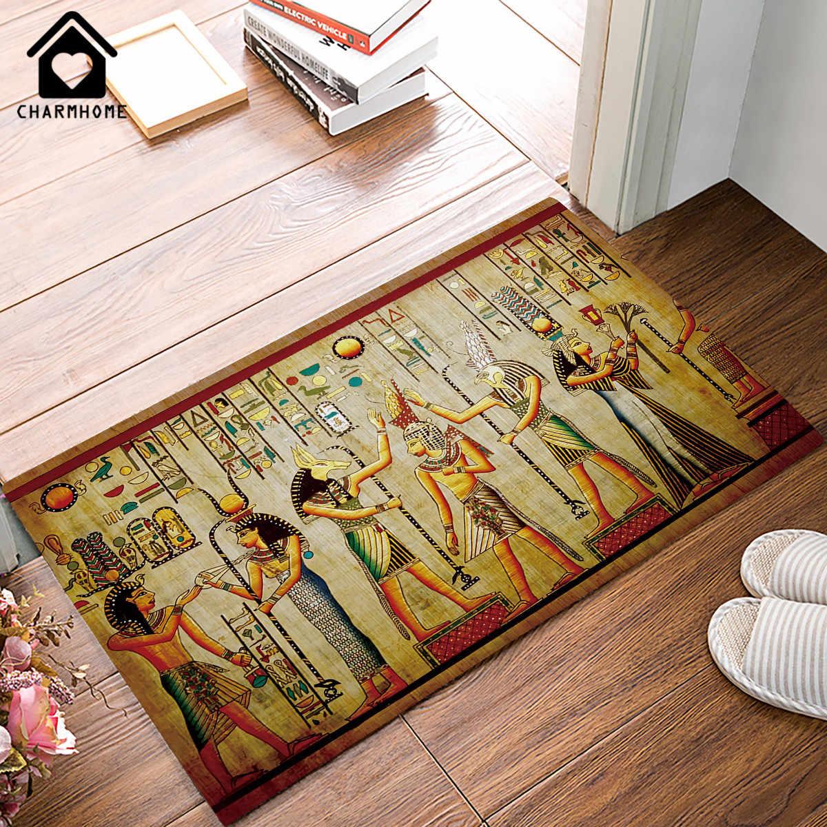 CHARMHOME Floor Mat Carpet Ancient Egyptian Life Printed Pattern Living Room Doormat Bath Rug Hallway Kitchen Non-slip Bedroom