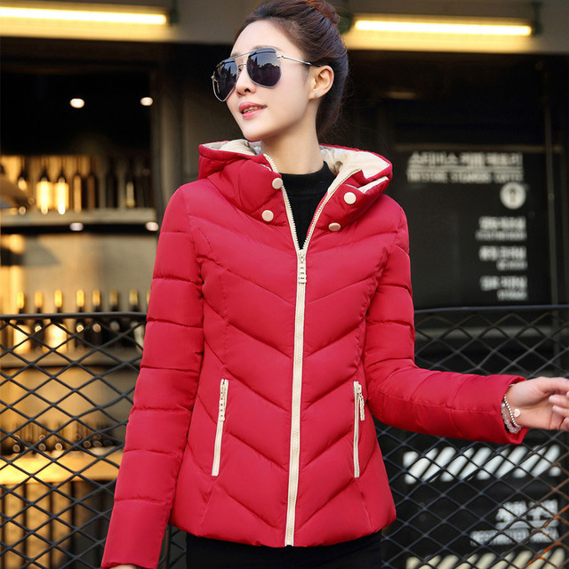 596fe8493ddd1 2018 Women Winter Jacket Plus Size Womens Parkas Thicken Outerwear Solid  Hooded Coats Short Female Slim Cotton Padded Basic Tops